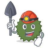 Stil för tecknad film för gruvarbetareDurian maskot Royaltyfri Bild