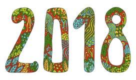 Stil för tecknad film för tecken för klotter för vektor för nytt år gullig hand dragen med nummer 2018 på bakgrund för vinterferi Royaltyfri Foto