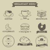 Stil för teckning för frukostmenyhand Arkivbild