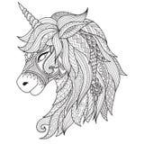 Stil för teckningsenhörningzentangle för färgläggningboken, tatuering, skjortadesign, logo, tecken stiliserad illustration av häs stock illustrationer