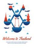 Stil för Thailand berömd gränsmärkekontur på stil för kontur för gränsmärke för flöteö berömd, nationsflaggablått och röd färg vektor illustrationer