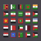 Stil för tunnelbana för uppsättning för Asien Mellanösten flaggasymbol royaltyfri bild