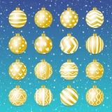 Stil för uppsättning för vektorjulboll guld- realistisk stock illustrationer