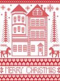 Stil för vintern för glad jul mönstrar nordisk och inspirerat av skandinavisk jul illustrationen med pepparkakahuset vektor illustrationer