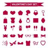 Stil för kontur för uppsättning för valentindagsymbol Förälskelse romans som gifta sig samlingen, undertecknar, symboler som isol Arkivfoton