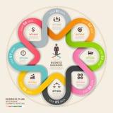 Stil för origami för cirkel för plan för affärsmoment övre. Arkivbilder