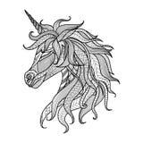 Stil för teckningsenhörningzentangle för färgläggningboken, tatuering, skjortadesign, logo, tecken Royaltyfria Bilder