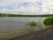 Stil landschap van de rivier van riet en steiger Royalty-vrije Stock Fotografie