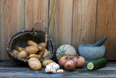 Stil life with potatoes onions and other fruit Stock Photography