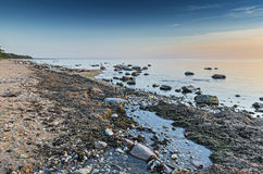 Stil strand van de Oostzee bij dageraad Stock Foto