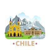 Stil w för tecknad film för lägenhet för mall för Chile landsdesign stock illustrationer