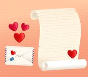 Stilar för snirkel och för kuvert för förälskelsebokstav med hjärtor Arkivbild