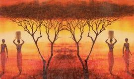 Stile africano del collage su tela di canapa Fotografie Stock Libere da Diritti