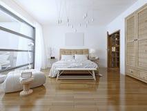 Stile alta tecnologia della camera da letto spaziosa Fotografia Stock Libera da Diritti