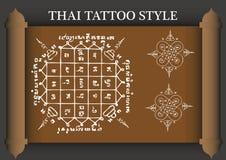Stile antico del tatuaggio tailandese Immagine Stock Libera da Diritti