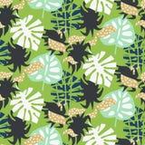 Stile astratto del collage delle foglie esotiche tropicali verdi Modello senza cuciture della stampa della carta da parati e del  royalty illustrazione gratis