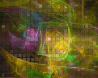 Stile astratto di scienza di forma della carta di caos di frattale, progettazione della curva, partito moderno, potere illustrazione di stock