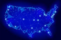 Stile basso della mappa degli Stati Uniti d'America poli Linea collegata fondo blu scuro del punto del cavo della maglia di comun Fotografia Stock