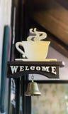 Stile benvenuto dell'annata della campana della caffetteria Fotografie Stock Libere da Diritti
