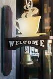 Stile benvenuto dell'annata della campana della caffetteria Fotografia Stock
