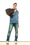Stile casuale del giovane con la borsa isolata Fotografie Stock Libere da Diritti