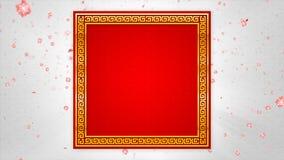 Stile cinese astratto di arte del fondo rosso e scuro con il fiore del fiore e della particella che cade e che si accende