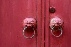 Stile cinese della porta rossa Fotografie Stock