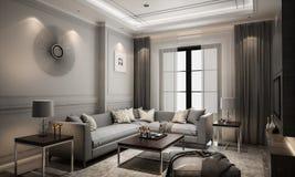 Stile classico moderno vivente dell'interno, 3D rappresentazione, illustrat 3D Fotografia Stock Libera da Diritti