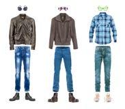 Stile concettuale della via della raccolta dell'abbigliamento maschile Fotografia Stock Libera da Diritti
