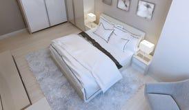 Stile contemporaneo della camera da letto Fotografie Stock Libere da Diritti