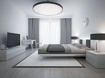 Stile contemporaneo della camera da letto elegante Fotografia Stock Libera da Diritti