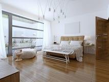 Stile contemporaneo della camera da letto luminosa Fotografia Stock