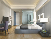 Stile contemporaneo della camera di albergo moderna con gli elementi dell'art deco Fotografie Stock Libere da Diritti