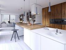 Stile contemporaneo della cucina luminosa che trascura la vita Facciata bianca e di legno Apparecchi incorporati e cappucci del p illustrazione di stock