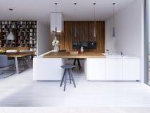 Stile contemporaneo della cucina luminosa che trascura la vita Facciata bianca e di legno Apparecchi incorporati e cappucci del p illustrazione vettoriale