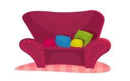 Stile contemporaneo della sedia rosa nella stanza d'annata Immagine Stock