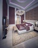 Stile costoso di barocco della camera da letto Fotografie Stock