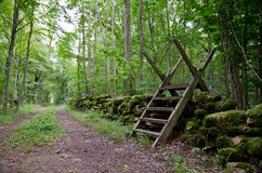 Stile at a countryside road Royalty Free Stock Photography