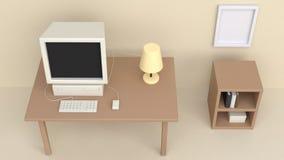 stile crema 3d del fumetto di visualizzazione superiore del computer della tavola della stanza di lavoro 3d rendere illustrazione vettoriale
