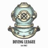 Stile d'annata assorbito casco di immersione subacquea illustrazione di stock
