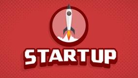 Stile d'annata del manifesto di film del lancio Startup dell'astronave illustrazione vettoriale