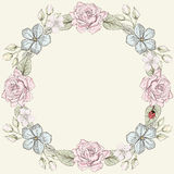 Stile d'annata dell'incisione della struttura floreale Fotografia Stock Libera da Diritti