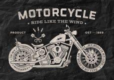 Stile d'annata della vecchia scuola del motociclo della corsa nero Fotografia Stock Libera da Diritti