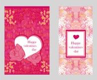 Stile d'annata Valentine Day Card Set Immagini Stock