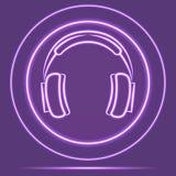 Stile d'ardore al neon futuristico del sensore dell'icona delle cuffie Vettore eps10 Fotografia Stock