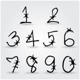 Stile del barbwire di alfabeto di numero Fotografia Stock