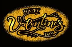 Stile del biglietto di S. Valentino dell'oro retro del ` s del testo felice di giorno Fotografia Stock