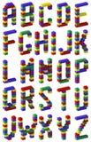 Stile del blocchetto del giocattolo della fonte tipografica del pixel Immagini Stock