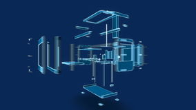stile del cavo della stampante 3d, illustrazione 3d Fotografia Stock