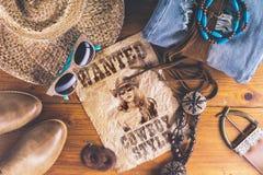 Stile del cowboy degli accessori retro Fotografia Stock Libera da Diritti